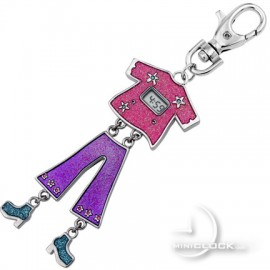 KEYCHAIN, Novelty Mini Clock Groovy Girl w/ LCD